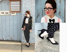 "Amber Dryden - Urban Outfitters Jacket, Asos Trousers, Thrifted Suspenders - ""Bow tie"" Chic"