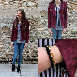 The Camelia - Mango Burgundy Perfecto, Zara Black & White Striped Shirt, H&M Destroy Jeans, André Black Boots, Les Musettes Chain And Suede Bracelet - Rock'n'rock