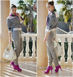 Kseniya B - Christian Louboutin Boots, Kaufman Franco Pants, Nina Ricci Cardigan, Kenneth Cole Bag - Flowers and Stripes