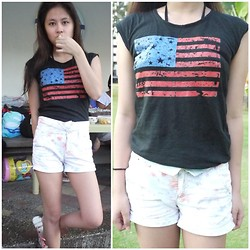 Lea Esguerra - Zara Floral High Waisted Shorts, Muscle Tee - American Flag