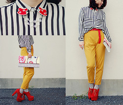 Shan Shan - Romwe Blouse, Romwe Pants, Tie Ups Belt, Tinytoadstool Collar Clip - Pattern mix & color block3