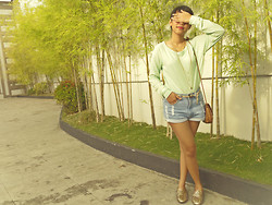 Christelle Mae Dacalus - Forever 21 Mint Sweater, Soul Lifestyle Denim Shorts, Forever 21 Floral Belt, Tonicbagshoes Spiked Loafers - Far from the Golden Hour