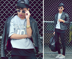 Mc kenneth Licon - Vintage Leather Baseball Hat, Bonlook Weekend At Bernies, H&M Biker Jacket, Vintage Sweater, Zara Pants, Vince Camuto Suede Oxford, Apartment Five Leather Backpack - Sports and Leathers