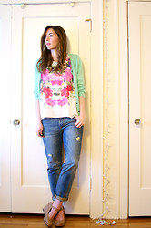 Kelly M. - H&M Mint Cardigan, H&M Printed Blouse, Gap Boyfriend Jeans, Jeffrey Campbell Mary Jane Wedges - Mint and Flowers