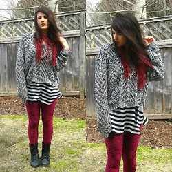 Stephanie Blinn - H&M Sweater, Winners Striped Shirt, Romwe Velvet Leggings - ...And Have Lost My Mind In The Process