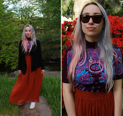 Michelle Winters - Vintage Thrifted, Cashmere, Lolita Maxi Skirt, Converse Chuck Taylors, Burberry Sunglasses - Lucid Dreaming