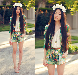 Jennifer Wang - Forward To All Floral Blazer, Merrin & Gussy Pretty Pictures Pendant, Forward To All Floral Shorts, Nine West Nude Ankle Strap Pumps - FLORA & FAUNA (Merrin & Gussy: Look 1)