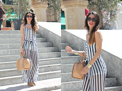 Laura Ruiz Andujar - Breshka Jumpsuite, Zara Bag - Jumpsuite stripes