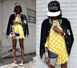 VintageVirgin Jessica - Choies Checkerboard Dropwaist Dress, H Town Snapback, Educateelevate Varsity Jacket, Vintage B&W Stripe Clutch, Zara B&W Ankle Strap Heels - FRESH