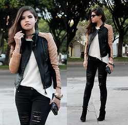 Adriana Gastélum - Sheinside Biker Jacket, Zara Jumper, Marc By Jacobs Clutch, Sammydress Ripped Jeans - Ripped jeans and a motorcycle