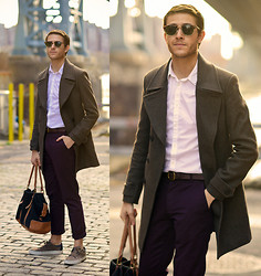 Adam Gallagher - Fashops Coat, Zara Purple Trousers, Creative Recreation Shoes, Sunglasses - How to style colored trousers
