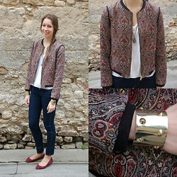 The Camelia - Zara Cashmere Printed Bomber, Zara White Tee Shirt, H&M Basic Jeans, H&M Burgundy Flats, Julie Sion Natural Stone Necklace, H&M Gold Spiked Cuff - Cashmere print