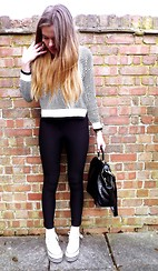 Amy M - Choies Jumper, American Apparel Riding Pants, Converse Trainers, Topshop Bag - MOC CROC