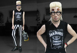 Andre Judd - Subcult Jack Daniel's Sleeveless Tee, Zara Inner V Neck Shirt With Rolled Sleeves, Pinkaholicfashionshoppe Striped Trousers, Pointed Patent Ankle Boots, Vince Extra Large Bottle Of Jack, Subcult Triple Flip Frames - ME, MYSELF, AND JACK