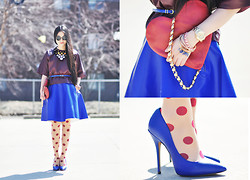 Elizabeth Jin - Asos Leather T Shirt, Baum Und Pferdgarten Coated Cotton Full Skirt, Steve Madden Pointy Heels, Moschino Vintage Heart Clutch - Leather & Dots