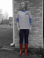 Alexandra Senycia - Urban Outfitters Denim Button Down, J. Crew Striped/Sequined T Shirt, Pacsun Jeans, Randolph Street Market Rain Boots - Ferris Bueller's Day Off