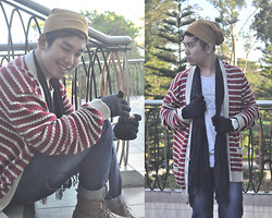 Vergil Lloyd Chua - Oxygen Bonnet, Forever 21 Red Striped Cardigan, Thrifted Black Scarf, Forever 21 Aztec Printed Shirt, Forever 21 Black Mittens, Tomato White Time Keeper, Energie Full Length Denim Pants, Forever 21 Brown Leather Boots - Unconventional Summer