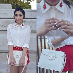 Kiki Nicole Suen - Stylenanda Embroidery Shirt, Lovisa Ring Set, Salvatore Ferragamo Bags, Forever 21 Red Shorts - Embroider It On My Skins