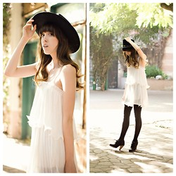 Zoë Harvey - Vintage Black Cowboy Hat, Chic Wish White Dress, (They Were A Gift) Black Tights, Seychelles Black Booties - B&W Cowboy