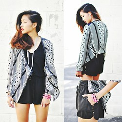 Heliely Bermudez - Forever 21 Studded Dophin Shorts, Shopakira Tribal Pleather Cardigan - Tribal Prints