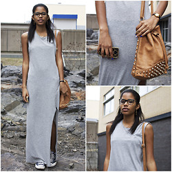 Chloe C - H&M Dress, Converse Sneakers, Nasty Gal Studded Bucket Bag - Grey
