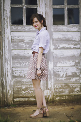 Ashlyn K - Thrifted Oxford Button Down, Polka Dot Skirt, Sixty Seven Nude Leather Wedges - Oxford