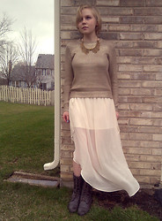 Alexandra Senycia - Forever 21 Gold Sweater, Target Cream Chiffon Maxi, Akira Moto Boots, Romwe Gold Collar - You only turn 18 once.