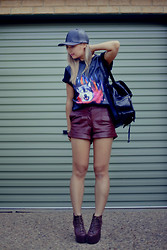 Jiawa Liu - Viparo Shorts, Romwe Shirt, Asos Hat - Leather on leather