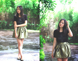 Nadya Joy - Forever 21 T Shirt, Sartorial Sweet A Line Skirt, Tory Burch Flats - Inside Wants Out