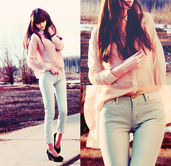 Mary Volkova - Mango Pants, Choies Shirt - Mint stripes & pastel pink
