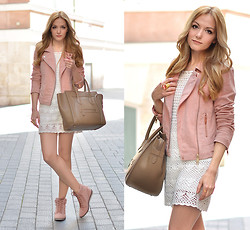 Henar Vicente - Mango Jacket, Mango Sneakers - Blush and Cream