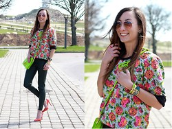 Ula H - Miu Bag, Zara Sweatshirt, Zara Faux Leather Pants, Aldo Sunglasses, Triwa Watch, Zara Pumps - The colours of spring