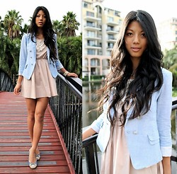 Rhea Hsu - Hang Ten Blazer, Momoshop.Tw Dress, Flats, Tiffany & Co. Heart Necklace, Kiss Diamond White & Gold Bracelet - Just build a bridge, and get over it.