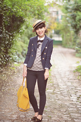 "Valentine Hello - Etam Straw Boater Hat, Choies Top, Olive Marine Blazer, Vanessa Bruno ""Bouton D'or"" Bag - Yellow Brick Road"