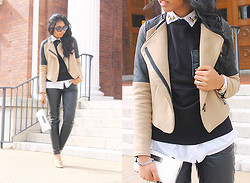 Sharena C. - Zara Beige And Black Contrast Jacket, Calvin Klein White Clutch, Gold Heels - Another Day
