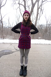 Willie Z. - American Apparel Black Mesh Button Up, Thrifted Plaid Jumpre, American Apparel Black And White Striped Leggings, Dr. Martens Engineer Boots - April snow
