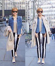 Yun Olivia H - Acne Studios Black&White Striped Pants, Madewell Denim Shirts, Chanel Espadrilles, Club Monaco Trench Coat - Black&White Stripes