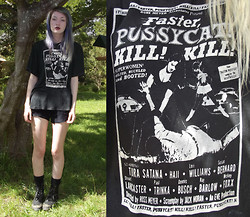 Freya C - Dad's Faster Pussycat Kill Kill Shirt, Thrifted Black Velvet Shorts, New Rock Boots - Faster Pussycat Kill! Kill!