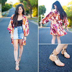 Nicole T - Editor's Market Skirt, Nike Sandals, Vietnam Kimono, Topshop Lace Bustier - AROUND THE WORLD