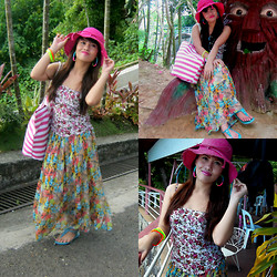 Chrissie J. I. - Floral Corset, Sm Accessories Pink Hat, Sm Cebu Pink & White Stripes Bag, Maxi Skirt - Maxi Summer