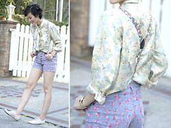 Bea Benedicto - Floral Shorts, Schu Lace Brogues - Flower Boy