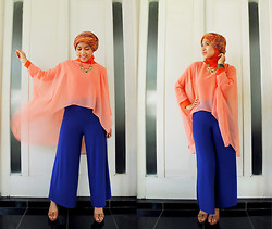 Aghniya Fitrisna - Orange Chiffon, Blue Kulot Pants, Yongki Komaladi Bright Brown - Brighter