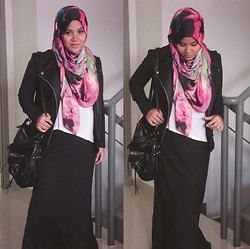 Aishah Amin. - Alhijabsisters Headscarf, Forever 21 Leather Vest, Clarks Bag, H&M Tee - Galaxy Pink and Leather