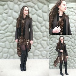 Pauline - Forever 21 Earrings, Necklace And Ring, Anne Klein Blazer, Vintage Cashmere Scarf, Forever 21 Hi Low Cheetah Print Dress, Steve Madden Knee High Leather Boots - Carnival of the Animal Print