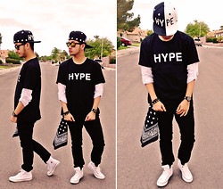 "Shawn C. - Diy Hat, Lookbook.Nu Hype Shirt, Pacsun Drake Skinny, Converse Chuck Taylor All Star - DIY ""Hype"" Hat"