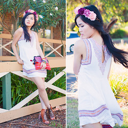 Nicole T - Free People Dress, Vietnam Bag, Jeffrey Campbell Lace Up Heels, K Is For Kani Floral Headpiece - Flowers in her hair