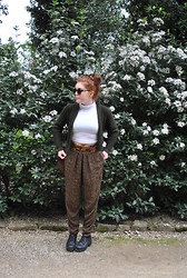 Ellie C - Vintage Cropped Cardigan, Mum Leather Duffle Bag, Rokit Patterned Trousers, Office Platforms, American Apparel Polo Neck Crop - The ancient empty street's too dead for dreaming