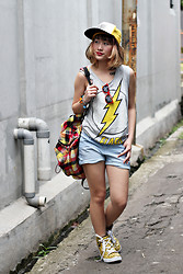 Aiiness .com - T Lab Barcode Snapback, Chic Wish Bang Sunglasses, Superhero Thunder Flash Sleeveless T Shirt, Forever 21 Shorts, Supra Leopard Sneakers - Thunder BANG!!!