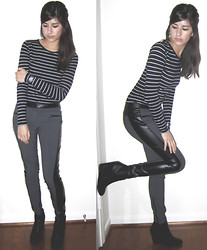 Giovanna C. - Black And White Striped Shirt, Leather Stripe Pants, Black Boot Heels - If Winter Ends