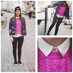 Emma Ward - Flattop Knit, H&M Floral Bomber, Topshop The Ragged Priest - Pink!